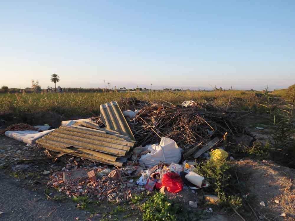 Vertido de basuras en la vereda de Manzanilla junto al azarbe Ancha (S. Arroyo)